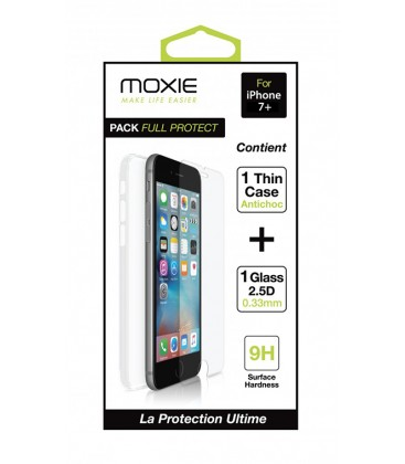 Pack full protect 1 housse + 1 verre trempé iPhone 7+