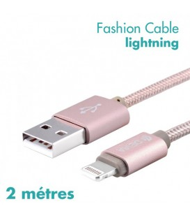 Câble de charge fashion 2M rose pour iPhone 5/5S/5C/6/6S/6+/7/7+