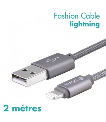 Câble de charge fashion 2M gris pour iPhone 5/5S/5C/6/6S/6+/7/7+
