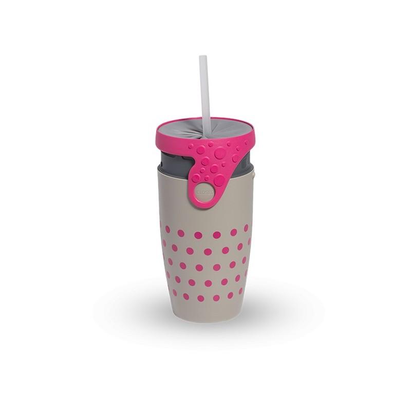 Mug étanche gris à pois rose Charlotte
